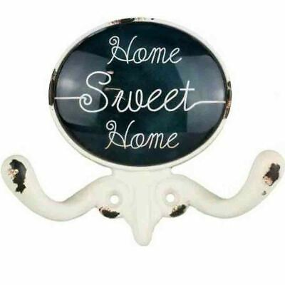 French Country Vintage Inspired HOME SWEET HOME with 2 Hooks New