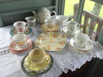 Mis-matched vintage china wedding teaparty teasets choose colour/combination