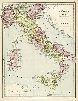 1870 Antique Map ITALY by J. Bartholomew ITALIA Sicily SARDINIA Railways COLOUR
