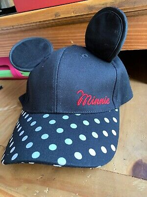 8654923ffbb PRIMARK OFFICIAL DISNEY Minnie Mouse Ears Baseball Cap Black Adjustable  Polka