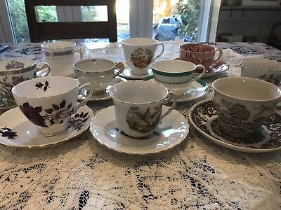 Job lot of 10 pretty vintage mis-matched cups & saucers for tea party - Lot H