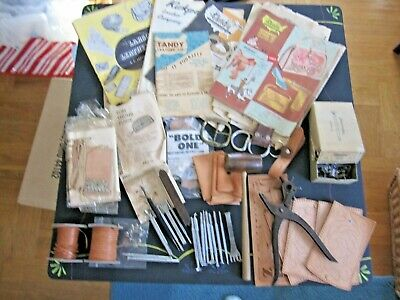 VINTAGE LOT 19 LEATHER WORKING TOOLS STAMPS SADDLERY 7 new Keychain kits etc