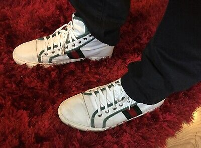 c6866fadbc2 Mens Gucci Ace Sneakers Trainers Uk 9 White Green Navy Red Ankle High