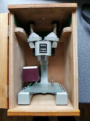 Opax Vintage Stereo Microscope Made In Japan In Wooden Box