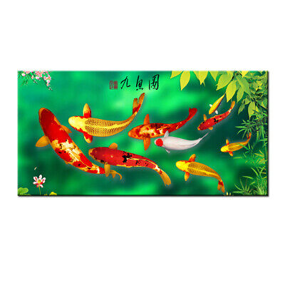 Wall Art Home Decor HD print oil painting Feng Shui Fish Koi Painting on Canvas