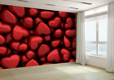 3D Of Many Dark Red Glossy Hearts Wallpaper Mural Photo 60264641 budget paper