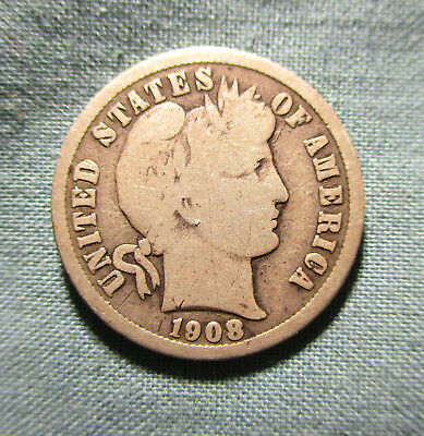 1908-D Barber Dime - 10 cents US silver coin