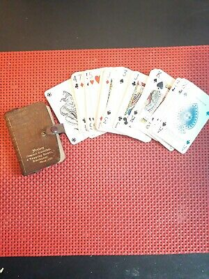 Vintage playing cards john waddington brithis made with orginal leather pouch