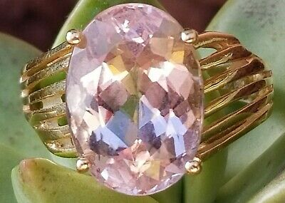 Vintage 14k Yellow Gold Rose Quartz Ring Ladies SZ 8
