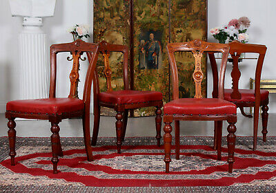 4 Antique 19th Century Walnut Dining Chairs Victorian