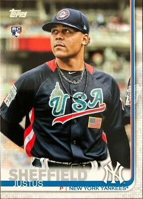 Justus Sheffield 2019 TOPPS SERIES 1 ROOKIE SP PHOTO VARIATION #306 NY YANKEES