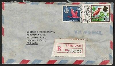 (111cents) Trinidad & Tobaco 1970 40c Sarlet ibis Registered Cover to England