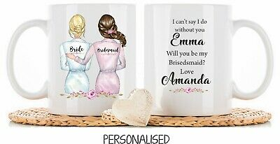 Personalised Mug cup will you be my Bridesmaid Wedding Gift Thank You