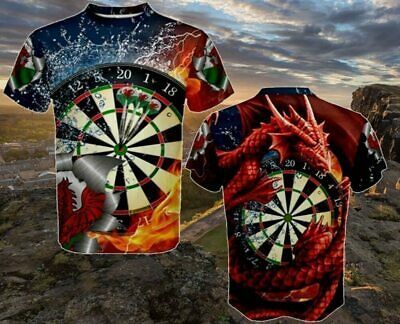 Best 3D Dart Board Game Darts Throw Graphic Dragon Men Top Tee  sleeve T-Shirts