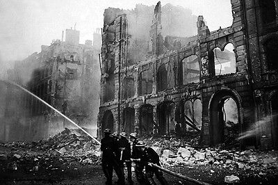 New 5x7 World War II Photo: Firemen at Work in Bombed Street of London, England