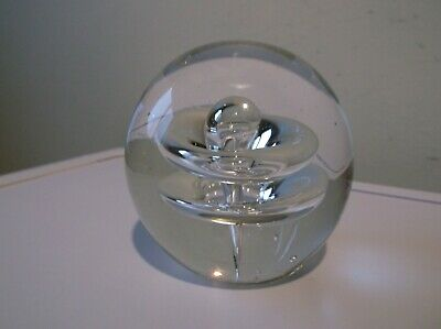 Clear Large Bubble Glass Paperweight