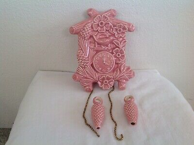 Vintage Pink Pottery Wall Pocket Planter Cuckoo Clock~Pinecone Weights