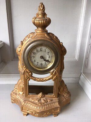 Petite Old French Empire Style Ormolu Desk / Mantle Alarm Clock
