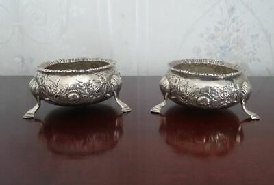 Antique Victorian Pair English Hallmarked Sterling Silver Cauldron Salts London