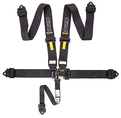 "Black RSA 3"" 5 Point NASCAR Style Track Drift Safety Harness - PAIR NEW!"