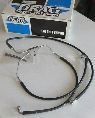 "DRAG SPECIALTIES #1741-2511 Front Brake Line 6"" over Black Vinyl '08-13 FLT FLH"