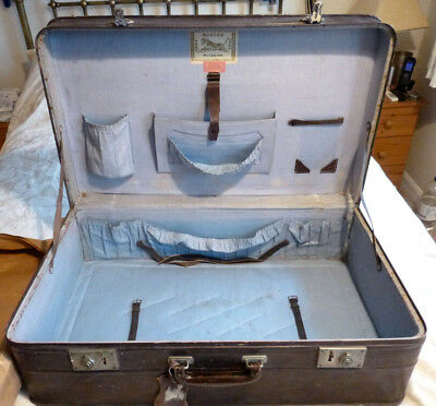 "Antique Shanghai China Quality Leather Chest Trunk Suitcase 30"" Made Circa1920s"
