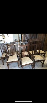 Set of 8 Antique dining chairs with 2 Carvers