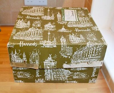 Vintage Harrods of London Hat Box 1950's Large 36cm x 36cm