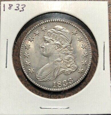 1833 Capped Bust Half Dollar Uncirculated UNC*Original Album Toned Reverse*