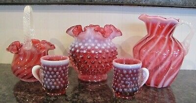 Lot Of 5 Fenton Art Glass Cranberry Opalescent Pieces - Nr - No Chips