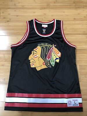Chicago Blackhawks Mitchell and Ness Concepts Basketball Jersey Men's Large