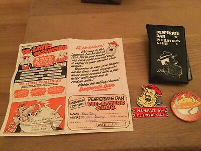 desperate dan pie eaters club memberhip pack badges from the dandy