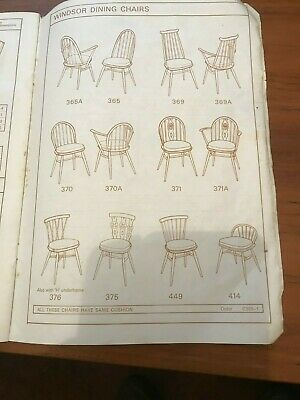 Vintage Ercol Identification Booklet Armchairs Dining Chairs Sofas Mid Century