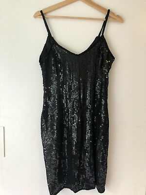 STUNNING Vintage black sequin & beaded silk dress - great quality 25yrs Old