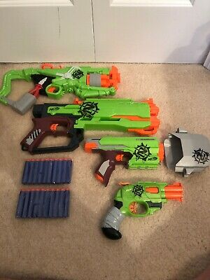 Zombie Strike NERF Dart Guns - Lot of 4 - SIDESTRIKE DOUBLESTRIKE and 20 Darts