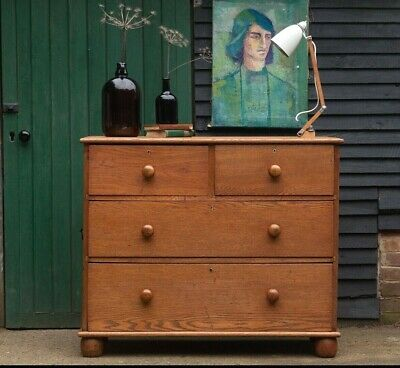 Antique Victorian Solid Oak Large Chest of Drawers