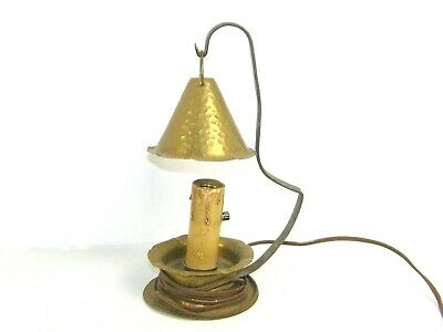 Vintage Arts & Crafts Hand Hammered Candlestick Electric Lamp Bedside Light
