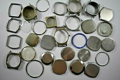 Mixed Lot of Vintage Watch Cases Bezels Back Trench Military For Parts LOT#1