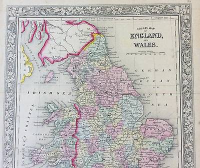 Original County Map of England & Wales c1860 Cowperthwait & Mitchell, color VGC