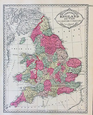 100% original Map of England & Wales c1889 from Tunison Atlas, color VGC