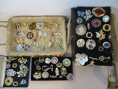 Job Lot of Wonderful Old Vintage Brooches Shawl Pins mother of pearl Czech etc.