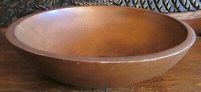 """Vintage Woodcroftery Large Country Kitchen Turned Wood Wooden Bowl 14"""""""