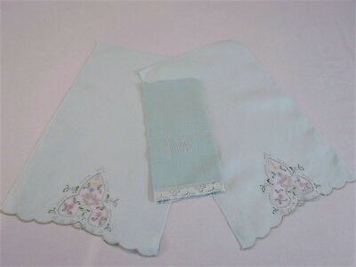 Vintage Linen - Two Pale Green Vintage Linen Placemats and a Hand Towel