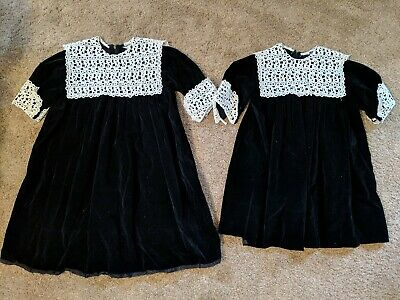Vintage Toddler Girl Sister Dresses Black Velvet Lace Chez Belle Size 6x And 4