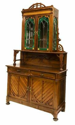 Sideboard, Continental Art Nouveau, Stained Glass, early 1900s,Outstanding!!