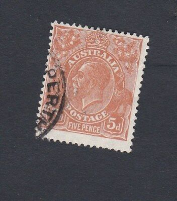 Australia 1930 5d BROWN KGV Small Multi wmk perf 13.5 x 12.5  stamp GOOD USED