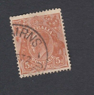 Australia 1930 5d BROWN KGV Small Multi wmk perf 13.5 x 12.5 postage stamp USED