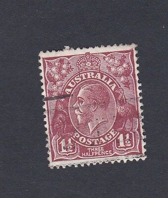 Australia 1930 1&1/2d BROWN KGV SM wmk Perf 13.5 x 12.5 CANCELLED & WITH GUM