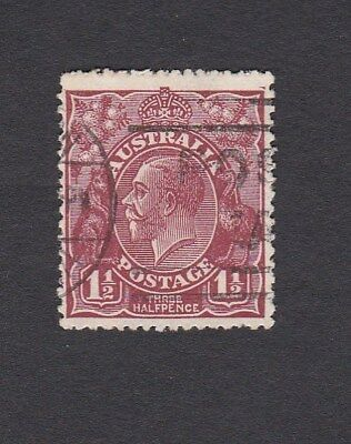Australia 1930 1&1/2d BROWN KGV SM wmk Perf 13.5 x 12.5 postage stamp Good Used
