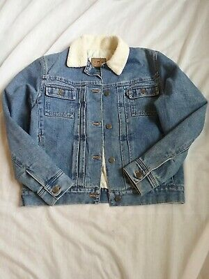 Vintage Ralph Lauren Sherpa Collar Denim Trucker Jean Jacket Small EUC
